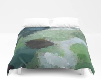 Abstract Art Duvet Cover, Comforter Cover, Bedding, Twin Queen King, Teal Green Blue