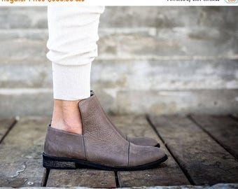 CIJ SALE Leather Boots, Brown Boots, Handmade Boots, Ankle Boots, Booties, Leather Shoes, Flats, Winter Shoes, Gift For Her, Francesca