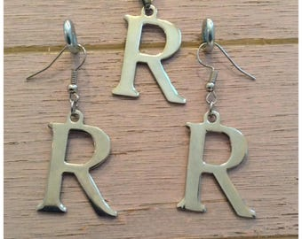 "Letter ""R"" Necklace and Earrings Set"