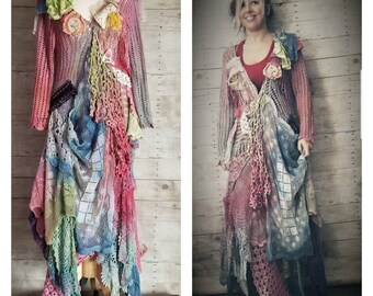Pink Sunshine Shabby Woodland  art gypsy floral ruffle rustic Boho rainbow dress top tunic crochet doily duster shawl tunic S M L