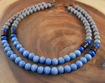 Wood Bead Necklace, Double Strand Necklace, Blue Necklace, Bohemian Jewelry, Statement Necklace, Grey Necklace