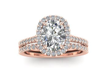 Moissanite Wedding Ring Set, Oval Forever One Moissanite, 14K Rose Gold Engagement Ring, Diamond Matching Wedding Band