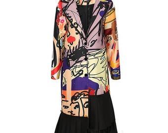 Fine Art Collection floral sketch irregular designed coat outwear