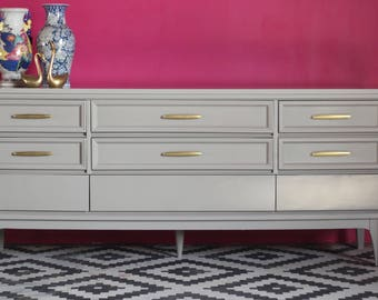 Mid Century Dresser - Lacquered in Warm Gray - Ready to Ship!