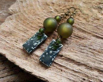 Dark Green Artisan Ceramic Charm Earrings, Bohemian Beaded Earrings, Boho Dangle Earrings