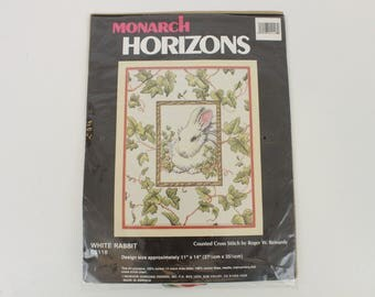 Monarch Horizons, White Rabbit, CS118, Counted Cross Stitch by Roger W. Reinardy, Cross Stitch Kit, Copyright 1993, Open but Unused