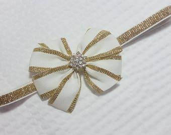 pinwheel bow golden and white baby headband, golden headband