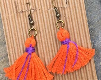 tassel earrings long dangle boho earrings purple orange Game Day accessories gypsy earrings  spring colors bohemian earrings tassel earrings