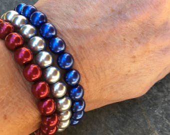 Set of 3 beaded bracelets Game day jewelry Patriotic bracelets gift for her red silver blue Czech glass bracelets stacking stretch bracelets