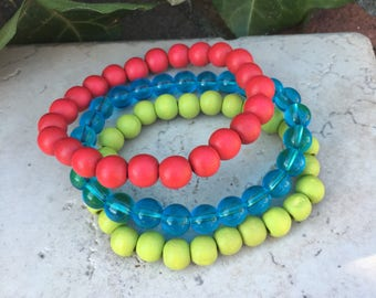 Set of 3 beaded bracelets colorful jewelry wood bracelet gift for her spring colors red lime green aqua bracelets stacking stretch bracelets