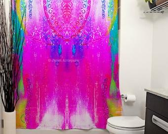 Dreamcatcher Printed Shower Curtain, Pink Shower Curtain, Modern Art, Tie-Dye, Bathroom Decor, Tie-Dye Decor, Abstract Art, Pink Bath Decor