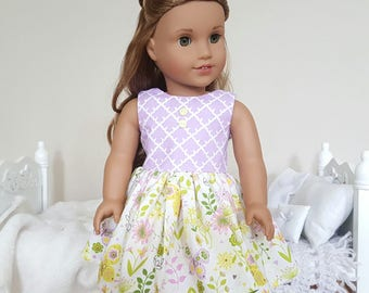 18 inch doll floral dress | purple & yellow dress