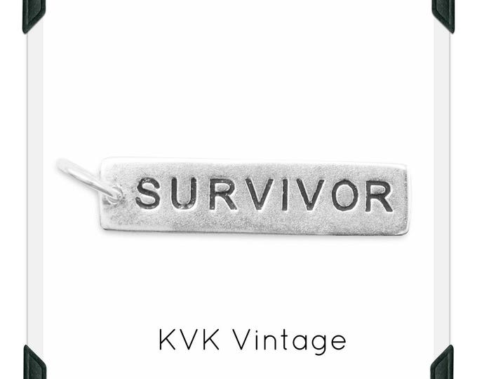 "Oxidized ""SURVIVOR"" Hand-Stamped Sterling Silver Pendant"