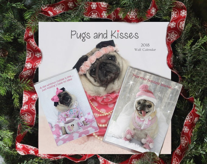 GIFT Pack 4 - The Ollie - 1 Cal 1 Card 1 Mag Gift Pack - Gifts for Pug Lovers - by Pugs and Kisses