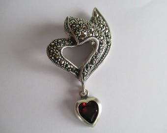 "Sterling - Marcasite - Pendant - Red Heart Garnet   - 1 1/2"" by 1"" - Very Good Condition - One of a Kind - Gift - Marked 925 - FREE SHIPPING"