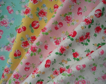 Bundle of 1/8 Lecien Old New 30's Collection Floral and Cherries in 5 Colorways.  Made in Japan