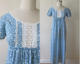 60's empire waist peasant dress/small print blue and white hippie maxi dress/ cotton nightgown size small