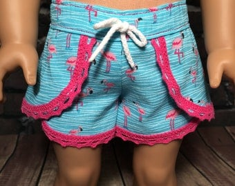 Fits 18 inch dolls such as American Girl-  dolphin shorts-  Cotton Dolphin Shorts Flamingos