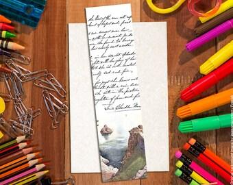 Handwritten letter bookmark, art bookmark, vintage illustration bookmark, book lover gift, unique bookmarks, romantic bookmark