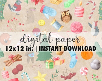 Seamless Christmas paper digital 12x12, seamless watercolor Christmas pattern, premade scrapbook pages, Christmas paper sheets #3