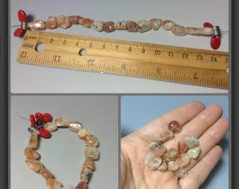 Sun Stone beads- 15 pieces