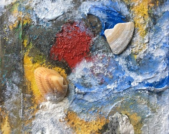 Sea Treasure abstract ORIGINAL stretched CANVAS mixed media painting