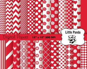 80% OFF SALE Valentine Digital Scrapbooking Papers 24 jpg files 12 x 12 - Instant Download - D205