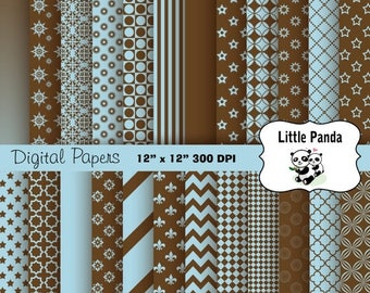 70% OFF SALE Dark Brown and Light Blue Digital Paper Pack 24 jpg files 12 x 12  - Instant Download - D272