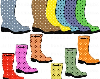 60% OFF SALE Polka Dots Rain Boots Clip Art - Digital Scrapbooking - Personal and Commercial Use - Instant Download - D388