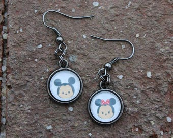 Mickey and Minnie Tsum Tsum Glass Tile Earrings
