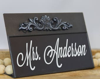 Desk Name Sign - Customized Office Desk Name Plate - Personalized Chalkboard - Teacher Realtor Lawyer Sign Professional Business Gift