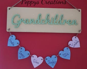 Grandchildren wall hanging - mothers day - personalised gift for Mum- personalized for gran
