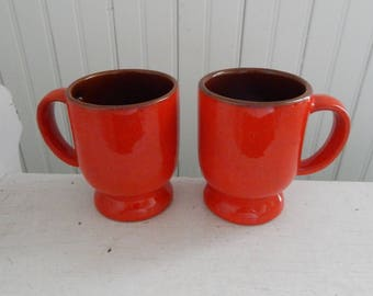 Flame Red Frankoma Pedestal Coffee Mug Set - Mid Century Frankoma Coffee Cup - Flame Red C2 Mug - Set of Two Coffee Mugs - Red Coffee Cups