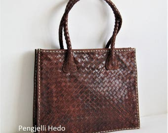 """groisillonne"" tote bag in chocolate copper braided leather"