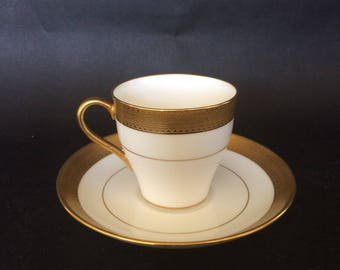 Antique Mintons, MINTONS DEMITASSE, TEA Cup and Saucer, Gold Encrusted Mintons, English Bone China, Greek Key China, 8 Pairs Available