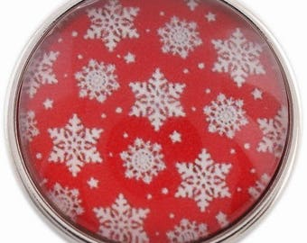 C1103 Art Glass Print Chunk - Snowflakes Set on Red Background