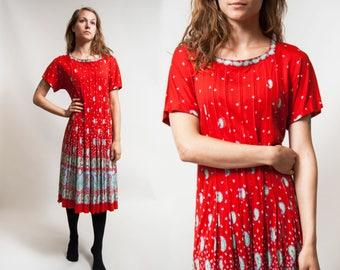 30% OFF Pure SILK De PARISINI Dress/ Rare Designer Dress/ Elegant Red Dress/ Prom Evening Party dress / Size Medium - Large