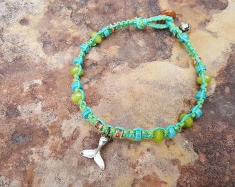 Hemp Anklet, Summer Jewelry, Whale Tail Anklet, Girly Anklet, Anklet, Hemp Jewelry, Gift for Her, Surfer Girl Jewelry, Beach Anklet, Hemp
