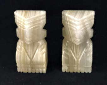 Vintage Onyx Marble Aztec Bookends
