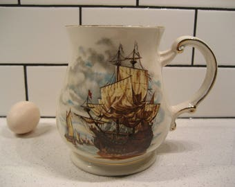40% OFF SALE // Vintage Sadler Ship Mug - Large Stein - Sailing - Retro Clipper China - Nautical - gold gilding - Fair winds - England