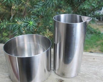 Stelton Mid-Century Danish Modern  Cylinda Jacobsen Stainless Steel Open Sugar & Cream