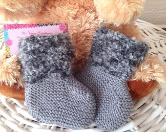 Booties keep baby Pearl Grey faux fur size 0-5 months