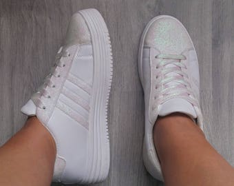 White iridescent holographic glitter sneakers