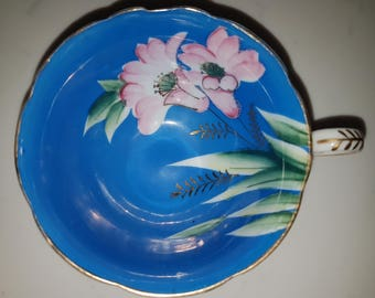 Made in Occupied Japan, hand painted tea cup, Fine bone china, pink flower on blue