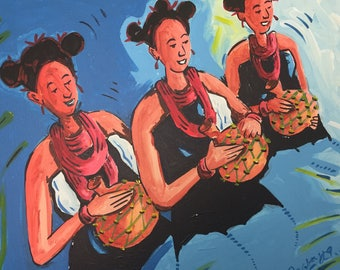 African Painting. Dancing Time 3. Acrylic Painting On Canvas.