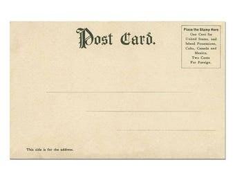 Postcard Download, Postcard Template with Undivided Back, Vintage Postcard Printing, Vintage Postcard Scrapbooking #12 - [Digital Postcard]