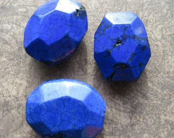 3 Chunky Faceted Focal Royal Blue Howlite Gemstone Beads Rectangle 25mm