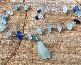 "Sterling Silver ""Blues""  Necklace - Seafoam Green, Cornflower, White, Aqua, & Cobalt Blue Sea Beach Glass On 20.5"" Chain"