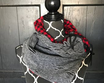Reversible Buffalo Check and Distressed Knit with Leather Ties