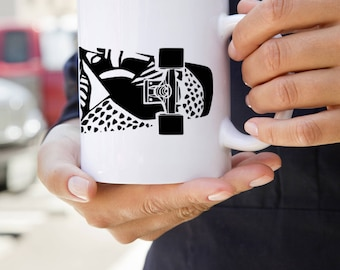 KillerBeeMoto: U.S. Made Coffee Mug With Maori Design on Skateboard